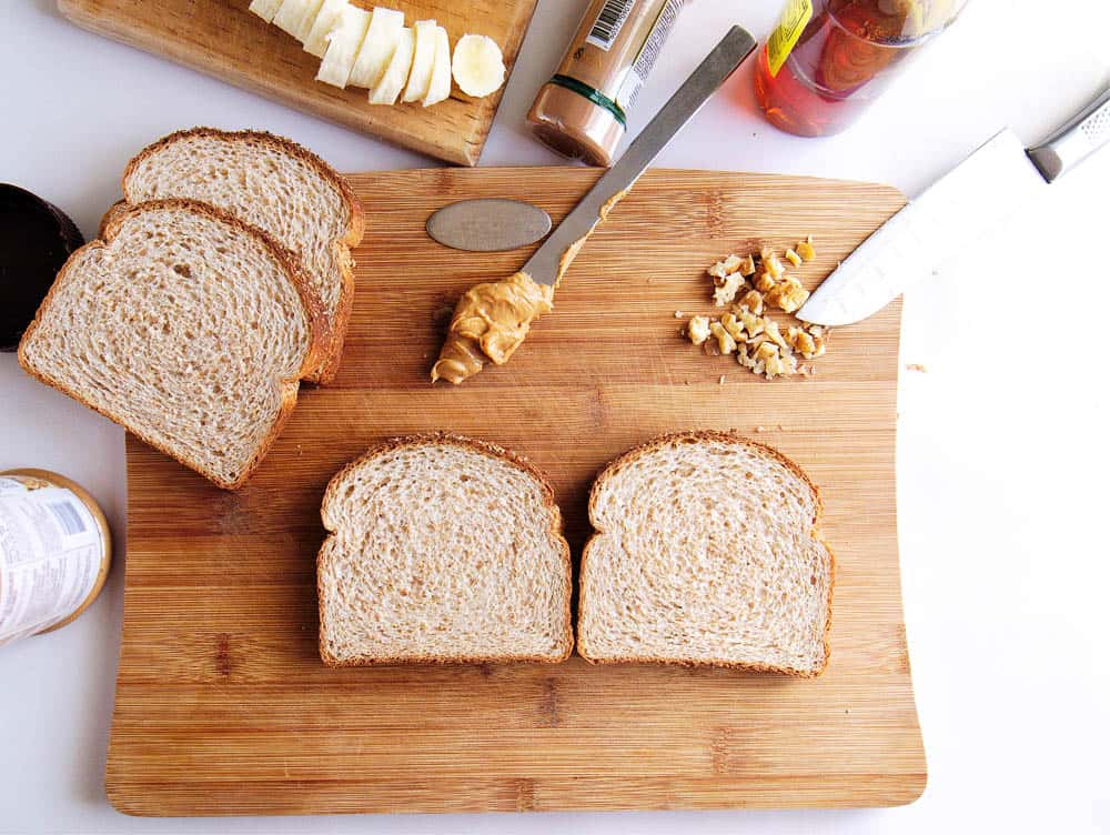 Ingredients to make banana peanut butter sandwiches