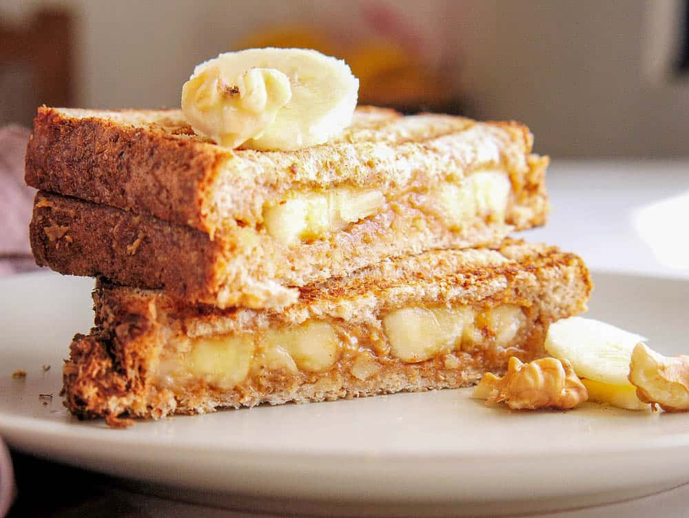 Close up of stacked banana peanut butter sandwich