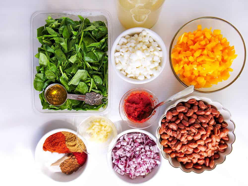 Ingredients to make the Vegan Posole