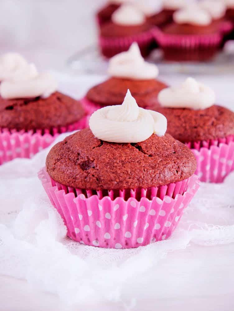 Lightened Up Red Velvet Cupcakes