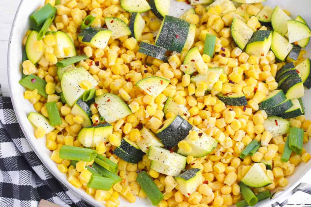 corn and zucchini mixture in a bowl