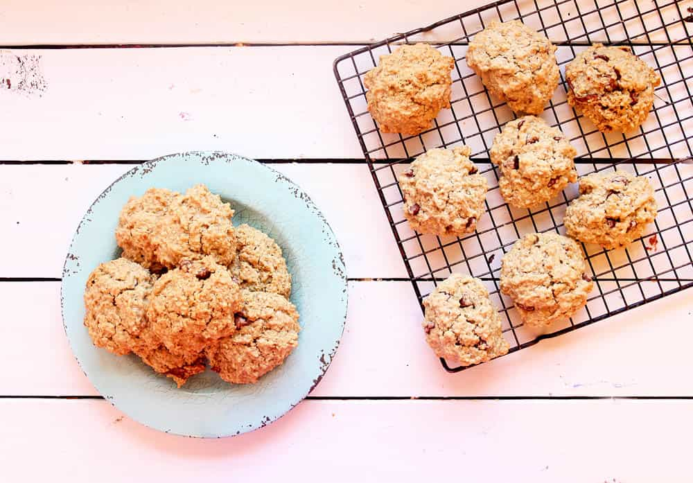 lactation cookie recipe - gluten free and vegan lactation cookies pictured on a cooking rack and a blue plate against a pink background