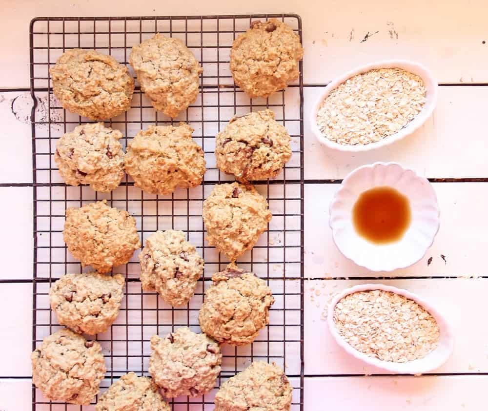 vegan lactation cookies recipe on a cookie rack next to ingredients