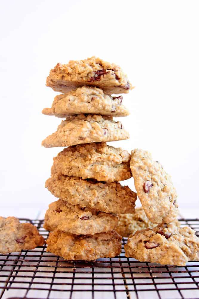A stack of these gluten free vegan cookies - lactation cookie recipe