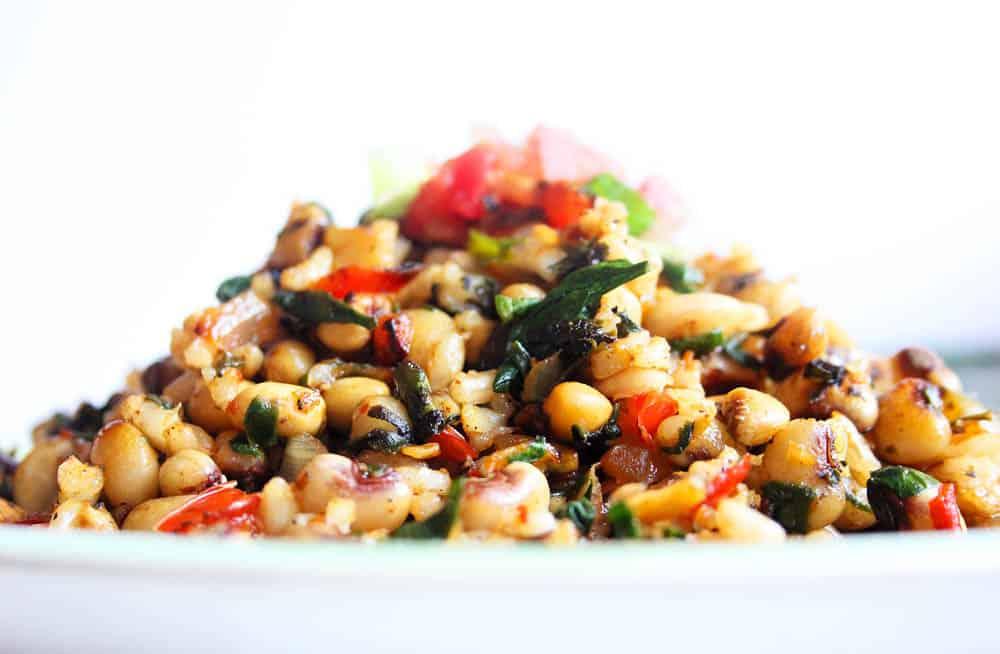 Close up of vegetarian black eyed peas recipe