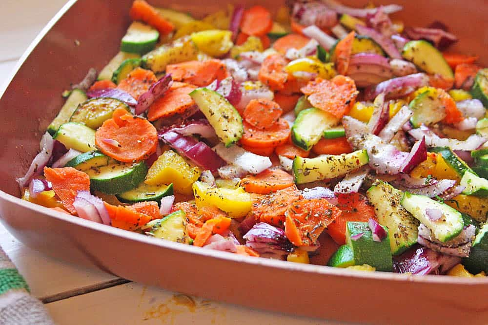 Cooked vegetables in a casserole dish