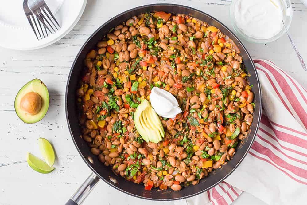 Top down shot of a Mexican Taco casserole in a large pan