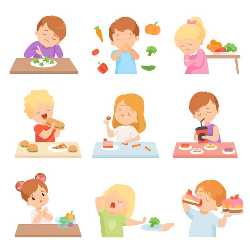 Clip art on white background of children not enjoying vegetables or picky eating - avoiding mealtime battles