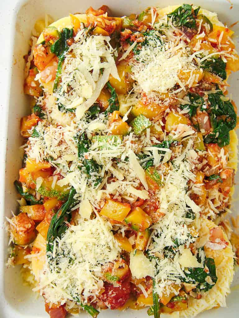 top view of polenta garden vegetable lasagna, before going into the oven