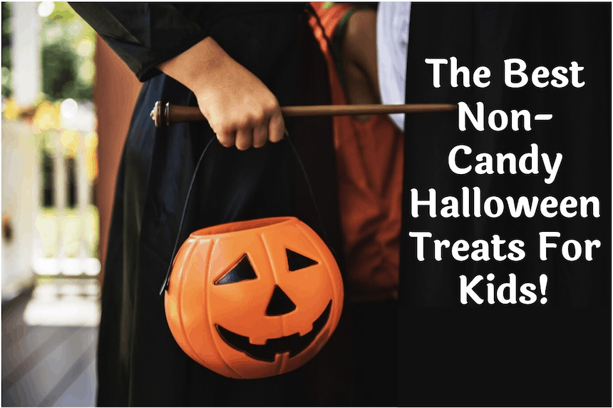 non-candy halloween treats for kids: image of trick or treater holding a jack o lantern bag