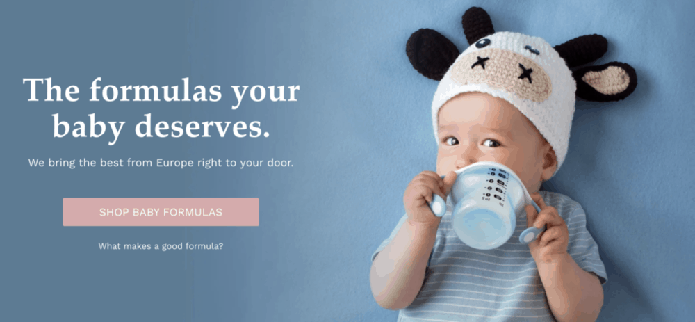 screenshot of Huggable - where to buy the best organic baby formula