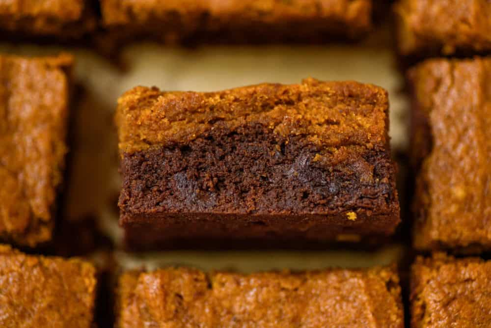 closeup of layered pumpkin brownies, cut in a baking pan