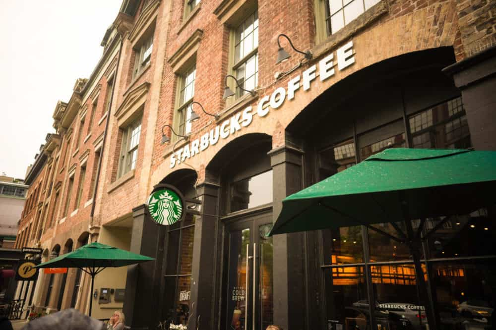 Healthy Starbucks Drinks and Menu Items - picture of the front of a starbucks store