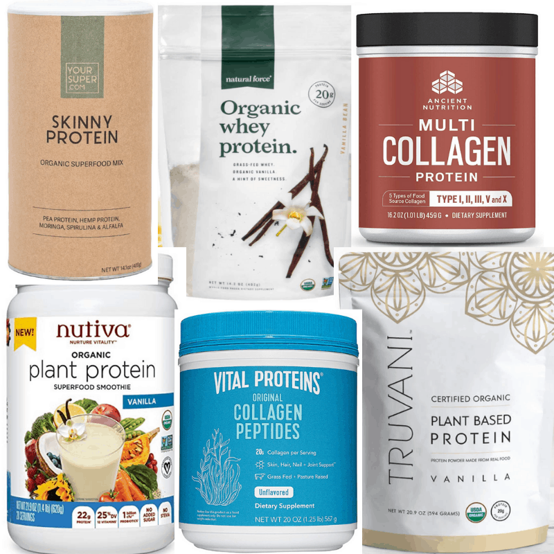 best protein powders for women - assortment of plant based, collagen, whey protein powder options