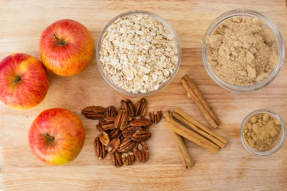 ingredients for Gluten Free Apple Crisp: oats, spices, brown sugar, apples, nuts