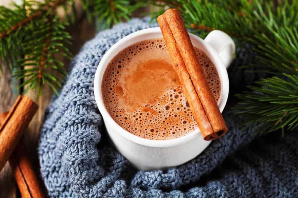 healthy hot chocolate with cinnamon, pictured in a white cup with a blue scarf - top view
