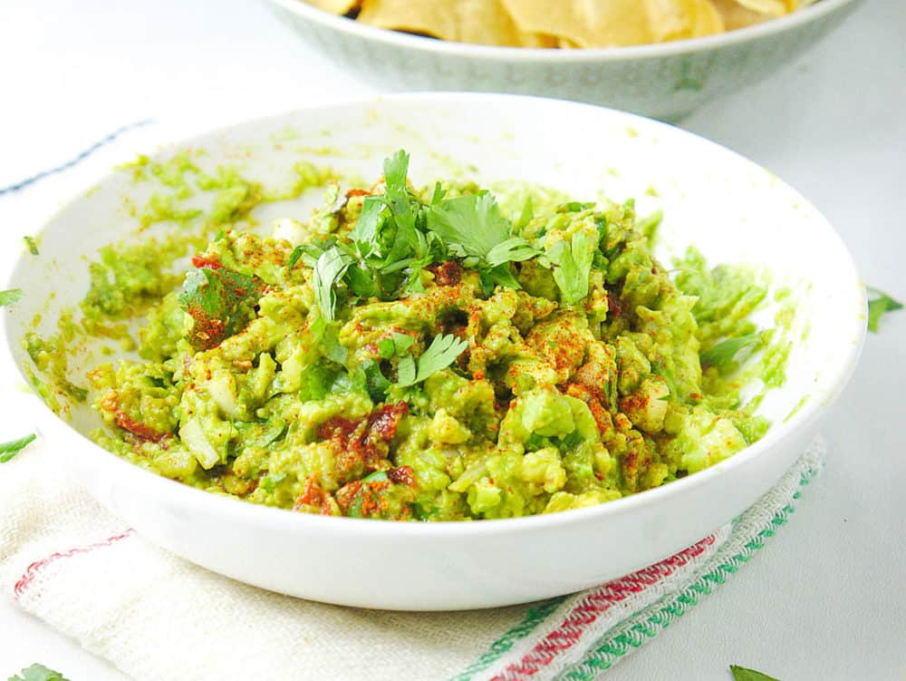healthy guacamole recipe in bowl