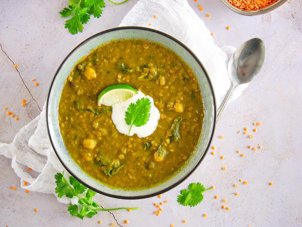 Indian lentil soup with yogurt and lime