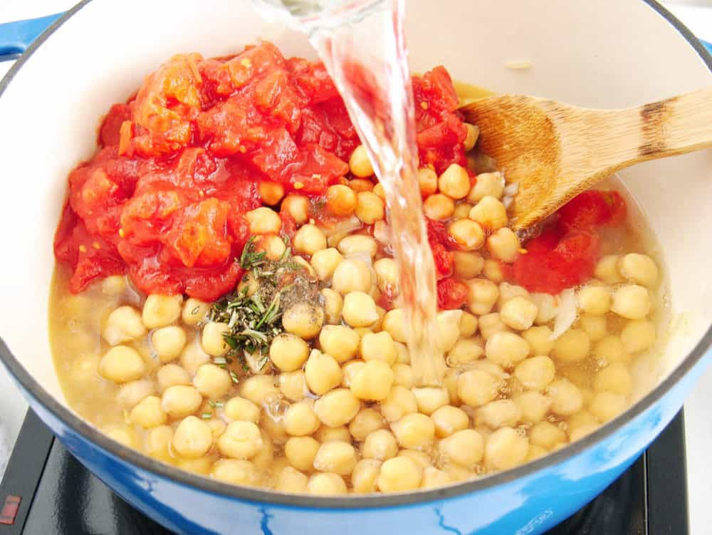 stir in water for chickpea soup