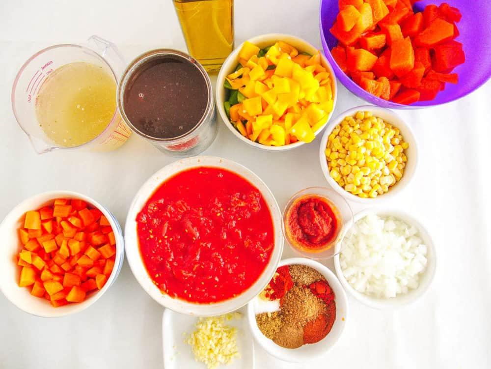 ingredients for vegan butternut squash chili