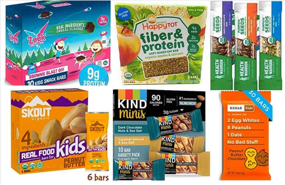 protein bars for kids - image of a variety of the best protein bars for kids