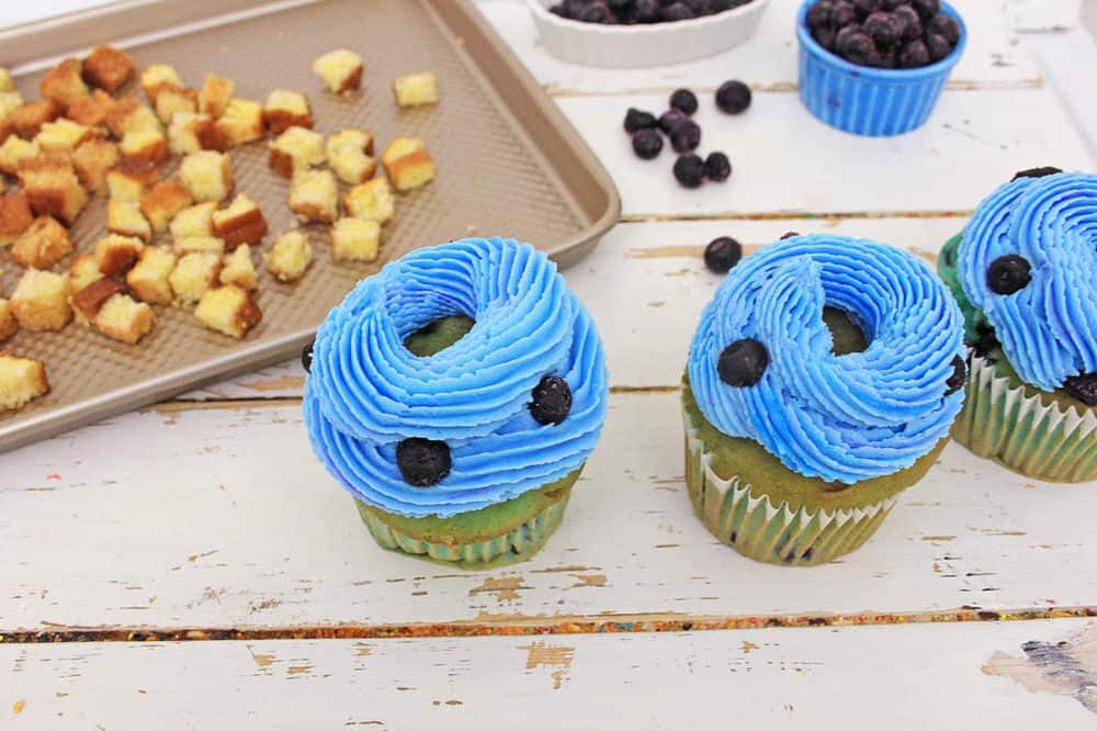 healthy blueberry cupcakes with blue frosting