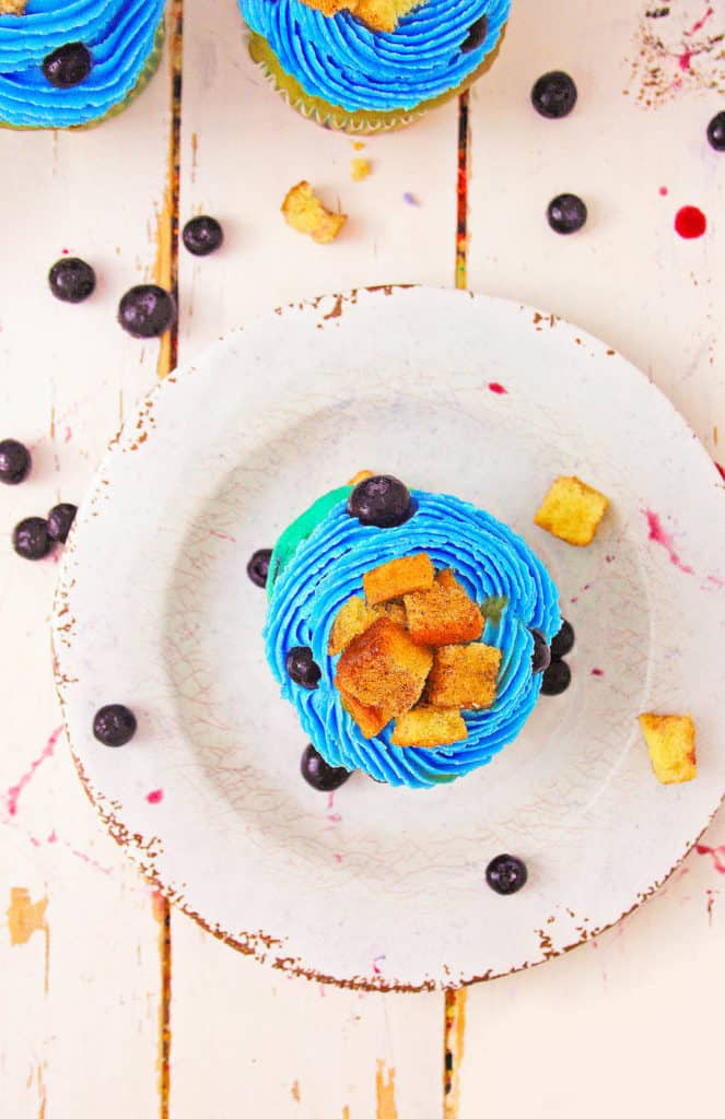 healthy blueberry cupcakes with french toast cubes