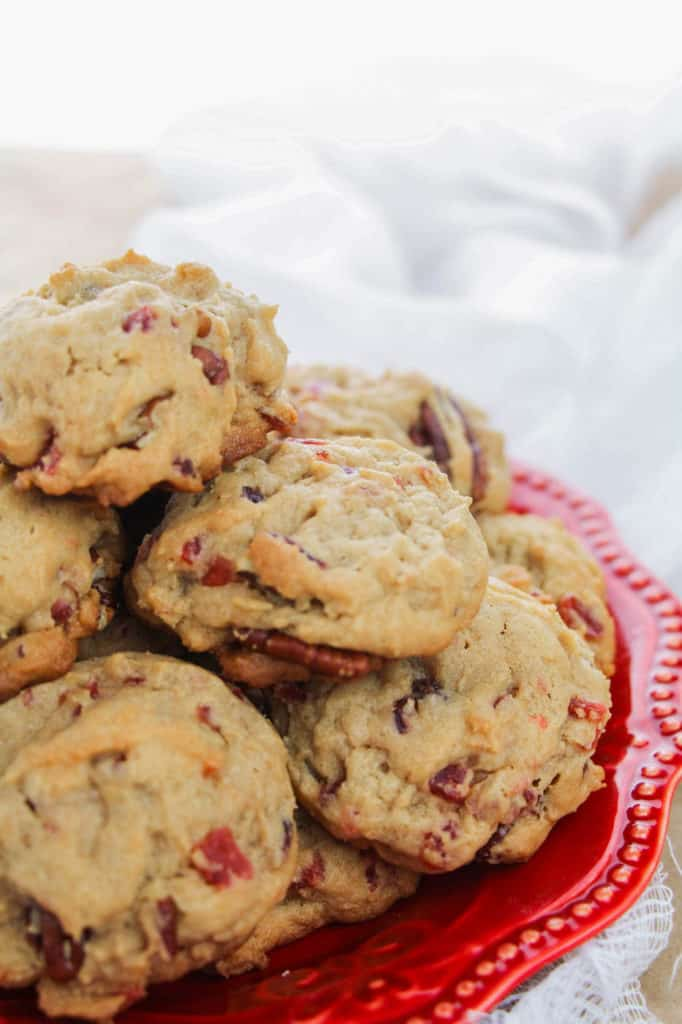 fruitcake cookies on red plate