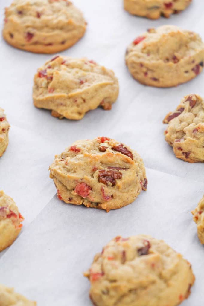 fruitcake cookies baked and out of the oven