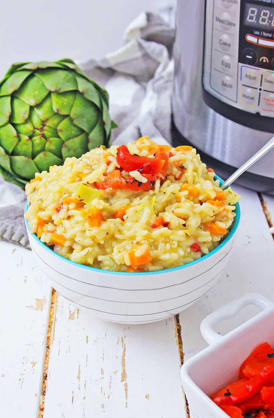 instant pot risotto next to artichoke and instant pot