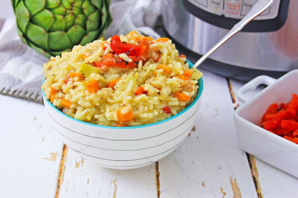 instant pot risotto in white bowl