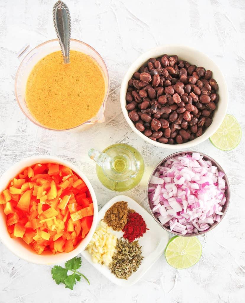 ingredients for healthy vegan black bean soup