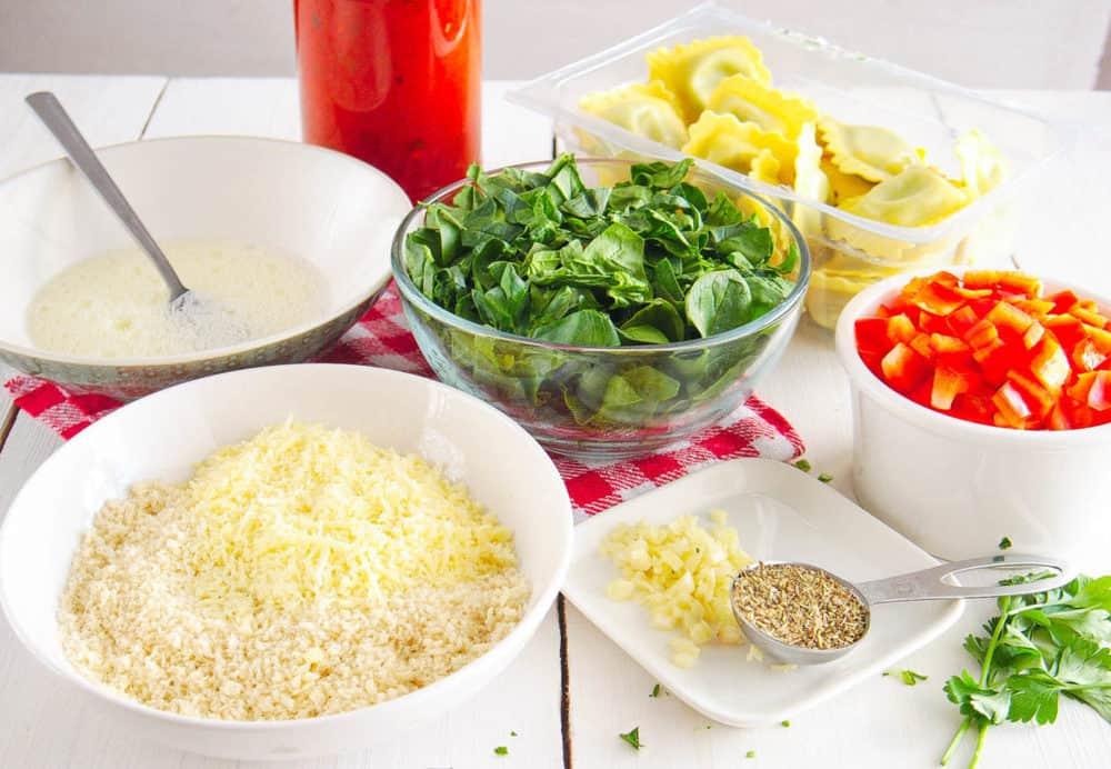 ingredients for crispy air fryer ravioli with marinara sauce