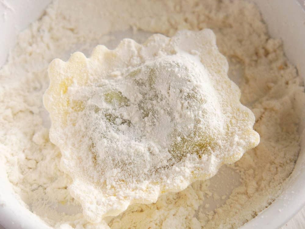ravioli coated in flour