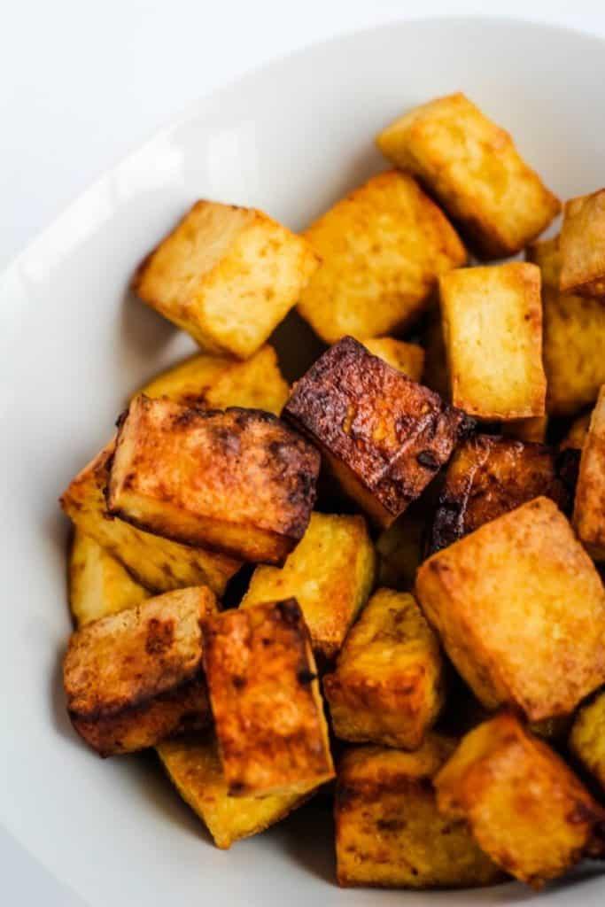 best air fryer vegetable recipes - fried tofu