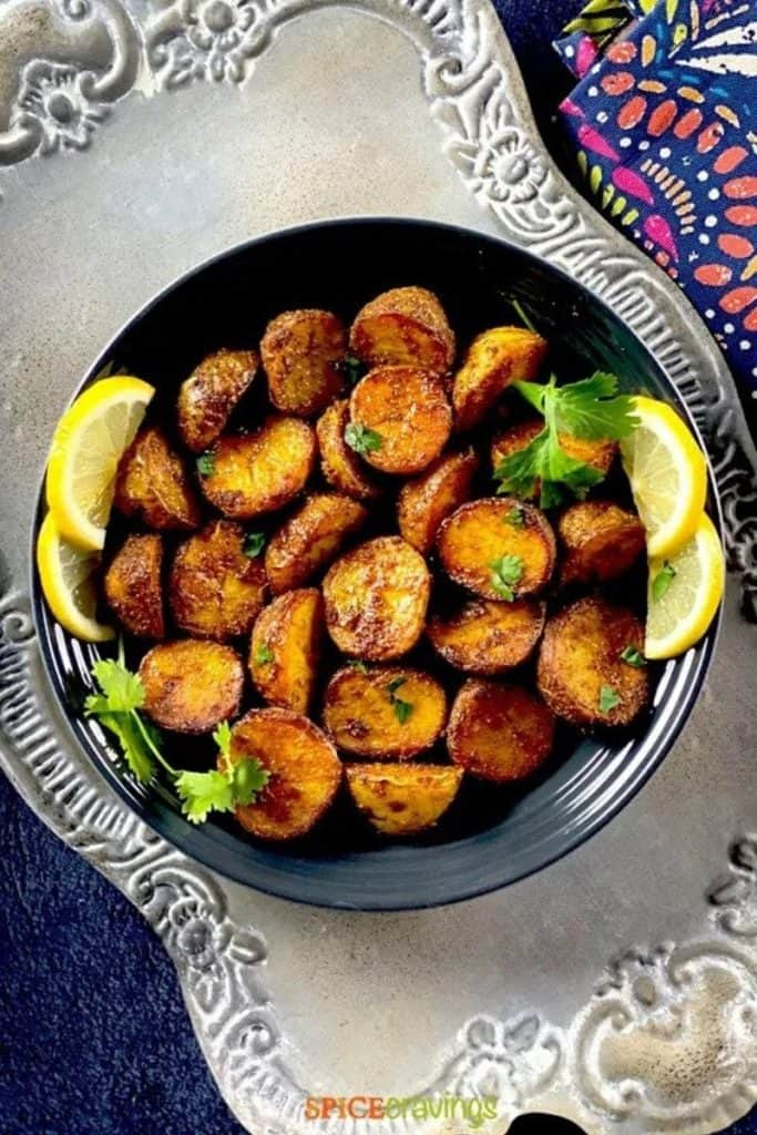 best air fryer vegetable recipes - spicy bombay potatoes