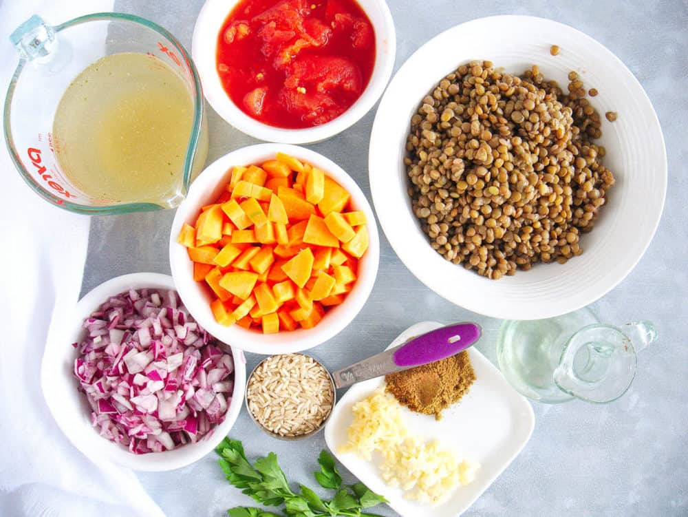 ingredients for indian stew with rice and lentils