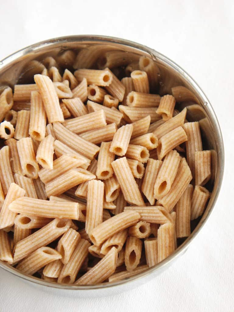 cooked whole wheat penne pasta