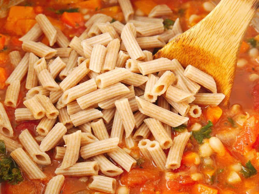 pasta added to soup