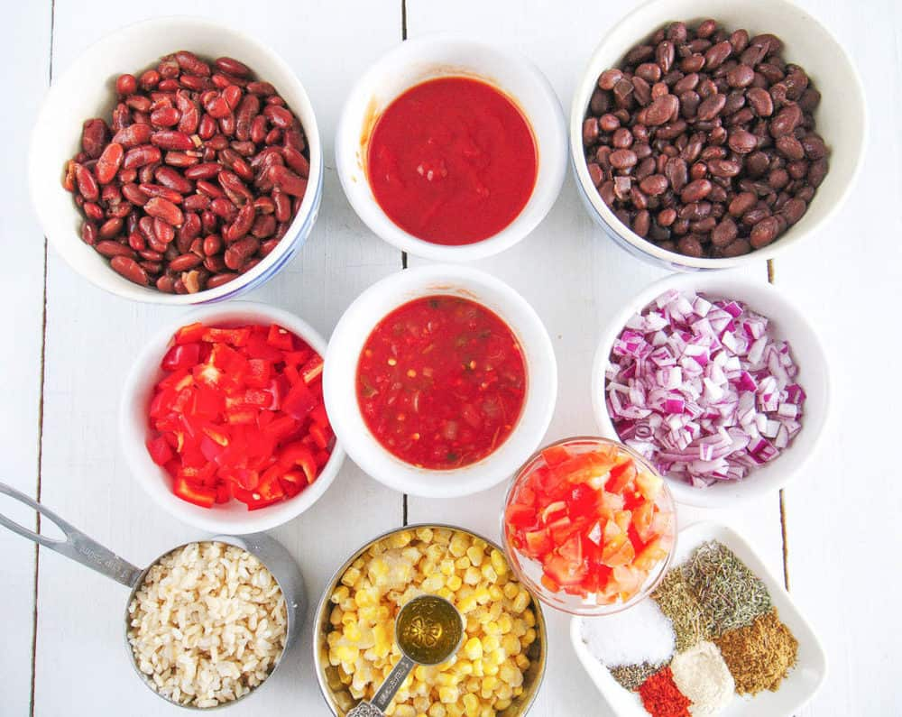 ingredients for vegetarian stew recipe with beans and rice