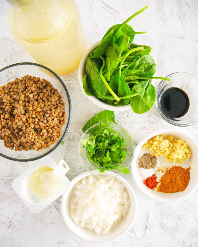 ingredients for lebanese lentil soup with spinach