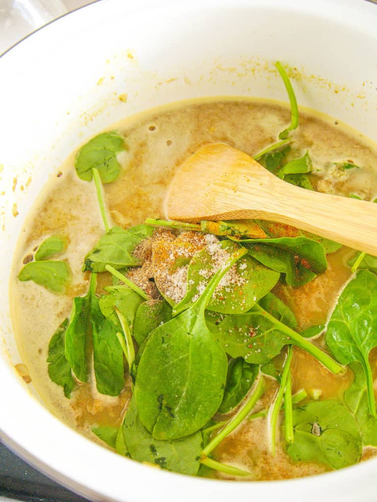 spinach added to pureed soup