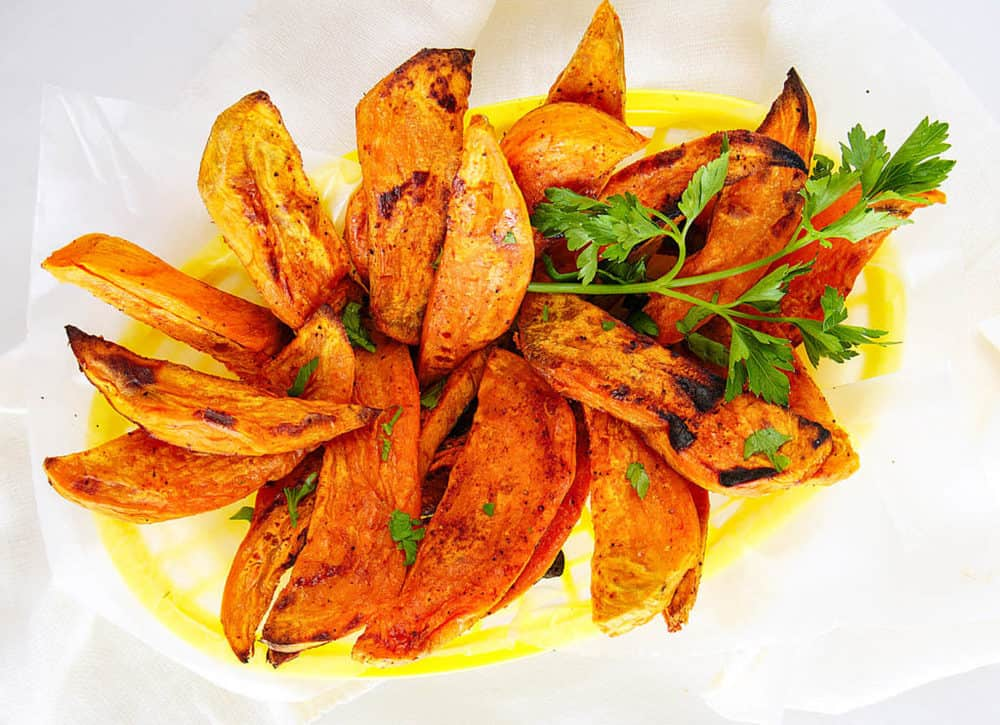 sweet potato fries in a yellow basket