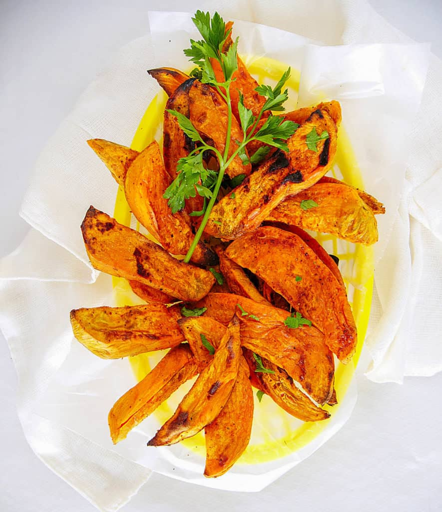 air fried sweet potato fries in a yellow basket