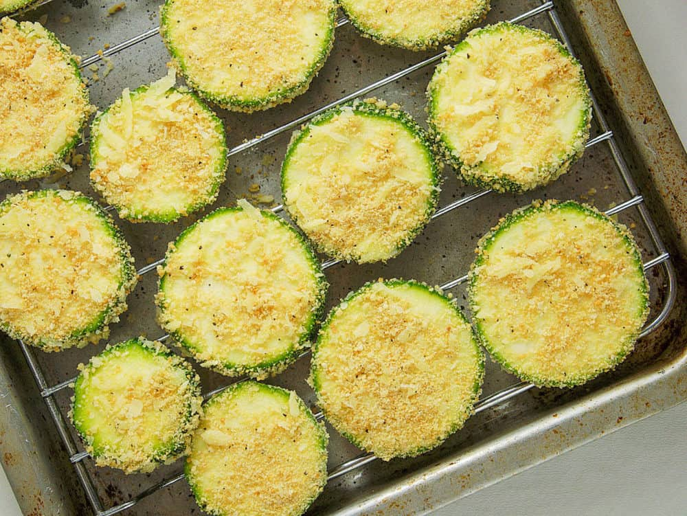 zucchini chips about to go in the oven