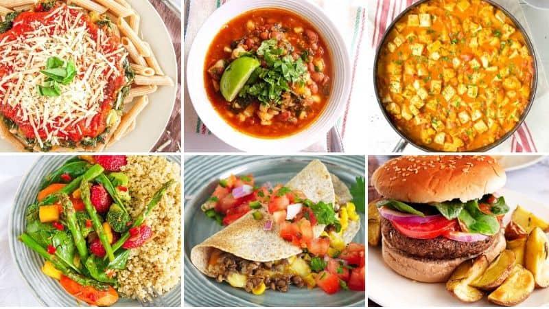 pantry meals, whole wheat pasta, chili, tikka masala, stir fry, quesadilla, black bean burger