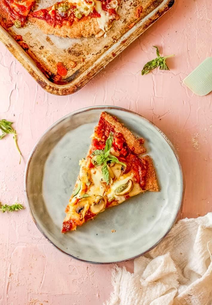 slice of Mushroom Flatbread with Roasted Vegetables on a plate