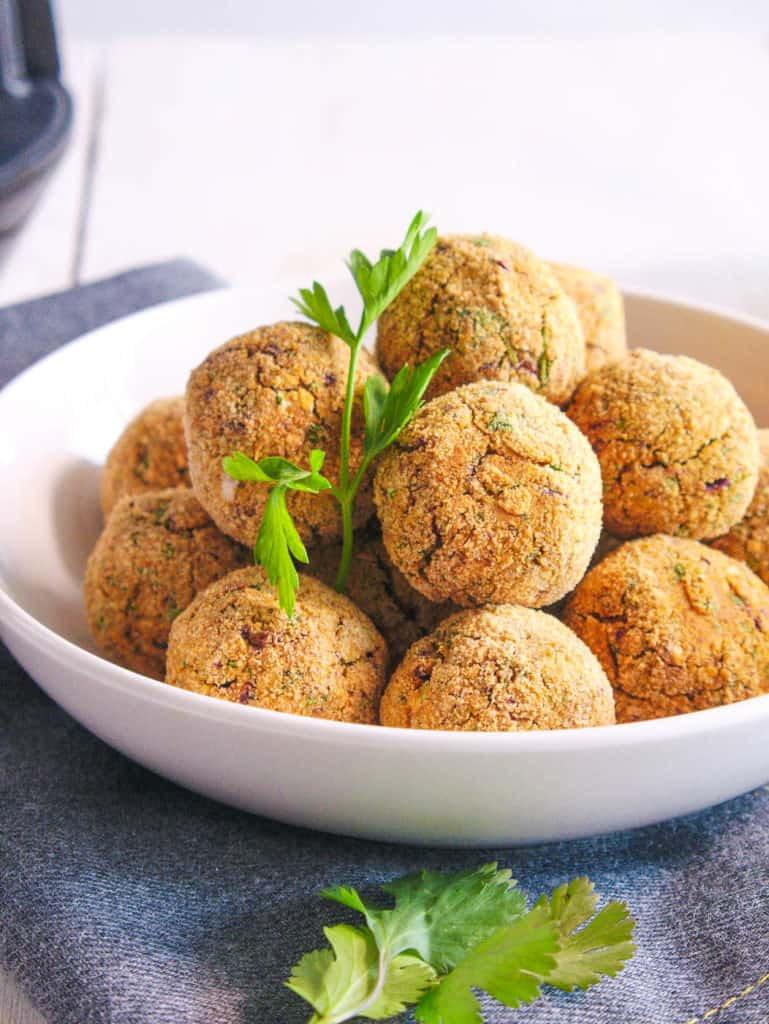 baked falafel balls fresh out of the oven