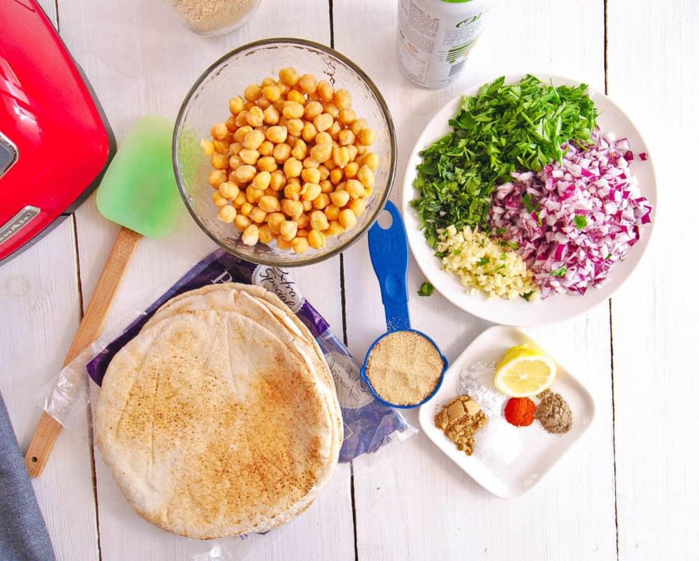 ingredients for falafel wrap recipe