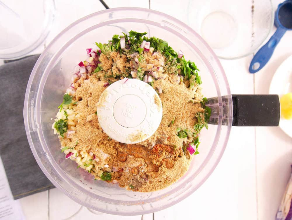 ingredients for falafel in a food processor